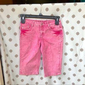 Justice Pink Acid Wash Skinny Low Jean Shorts 14R